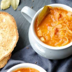 Постный суп крчик с квашеной капустой и булгуром