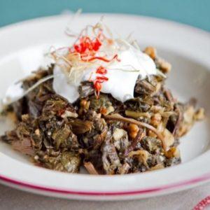 Теплый салат с авелуком и шампиньонами